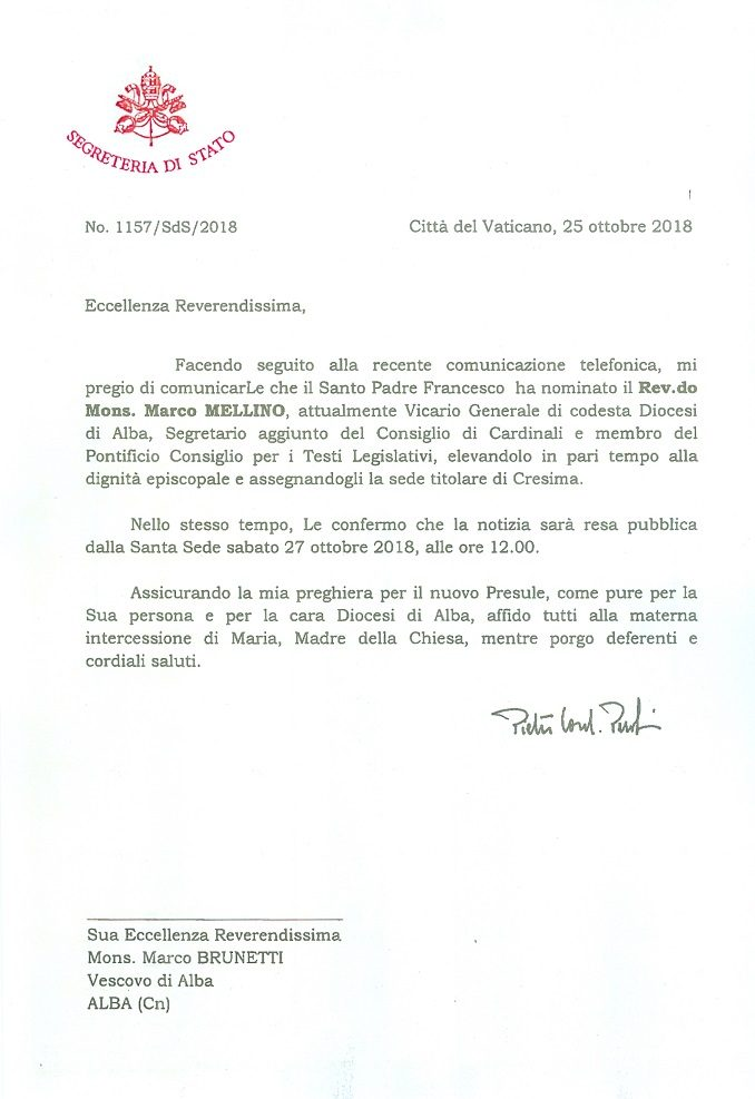 Papa Francesco nomina Monsignor Mellino Vescovo e segretario aggiunto del C9 1