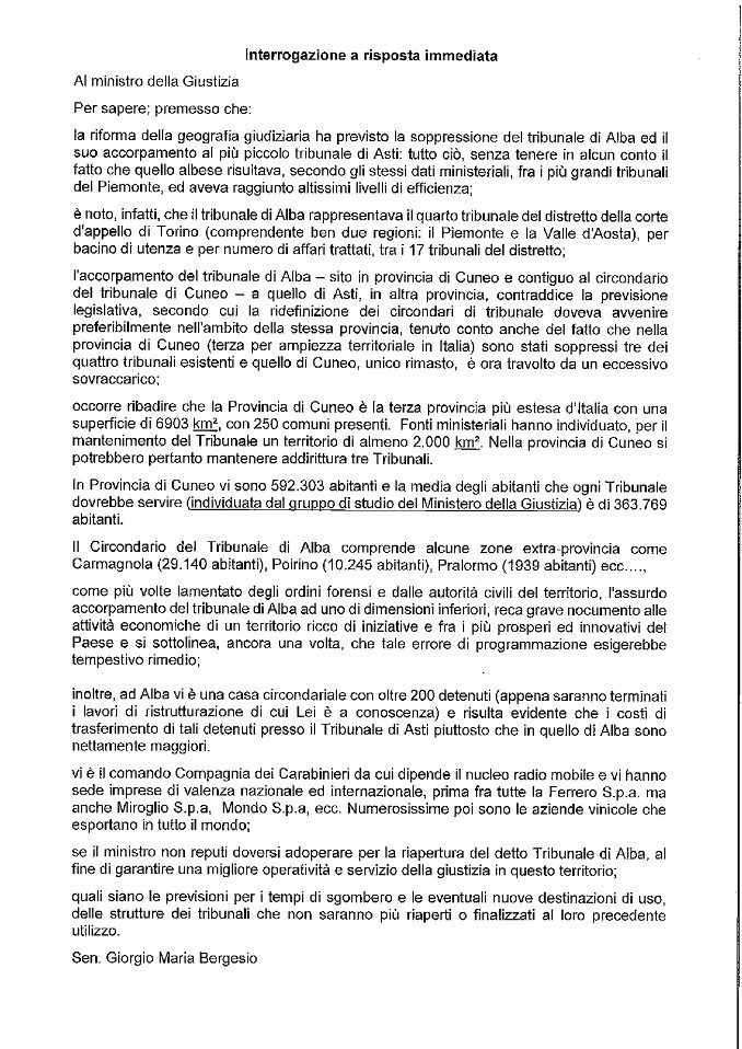 """Il Ministro risponde a Bergesio: """"La soppressione non ha creato criticità, ma disposti a valutare riapertura"""""""
