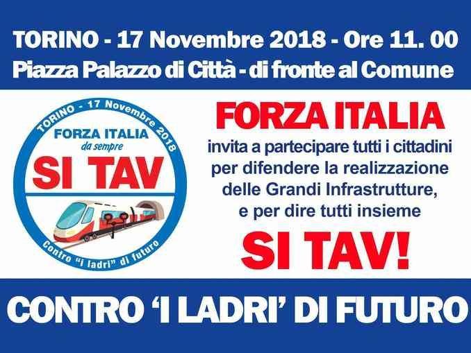 Domani a Torino Forza Italia scende in piazza per la Tav