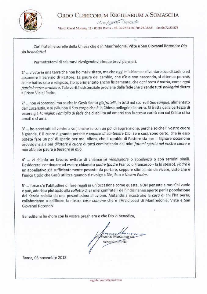 monsignor Franco Moscone lettera diocesi