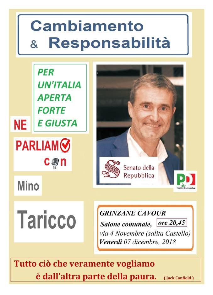 Arriva a Grinzane il ciclo di incontri del senatore Mino Taricco (Pd)