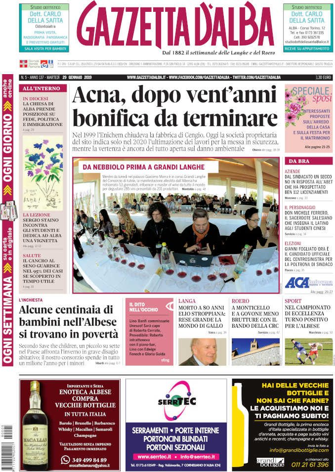 La copertina di Gazzetta d'Alba in edicola martedì 29 gennaio