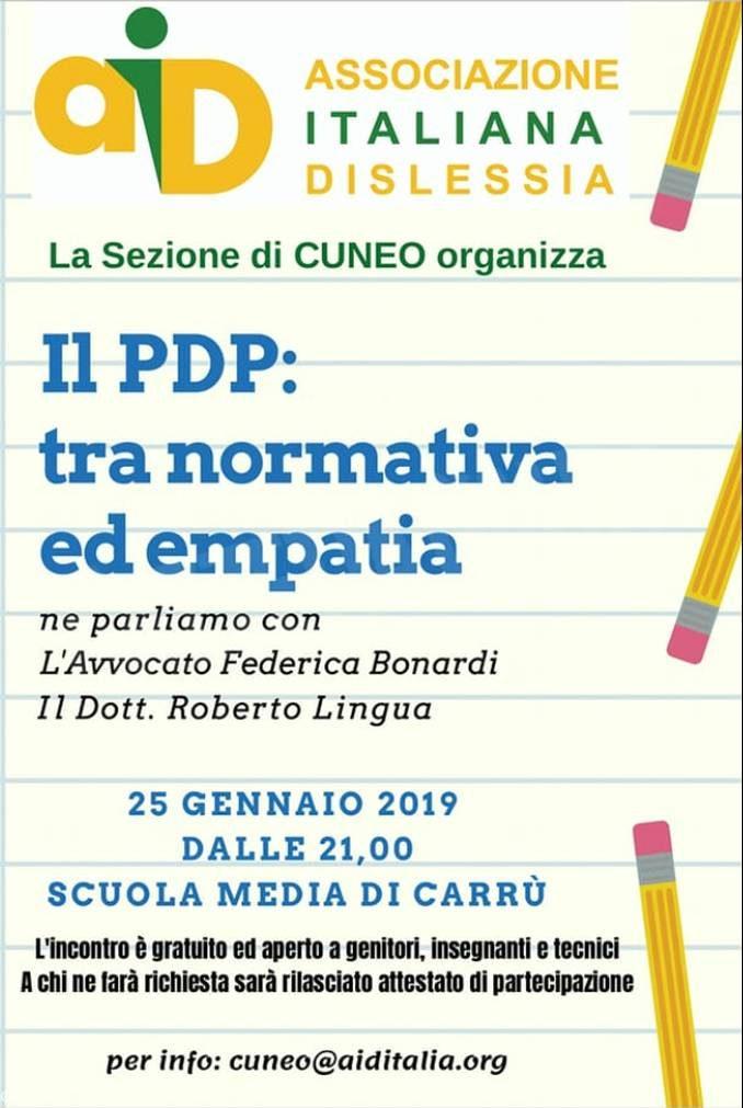 Dislessia: una serata sul piano didattico personalizzato a Carrù