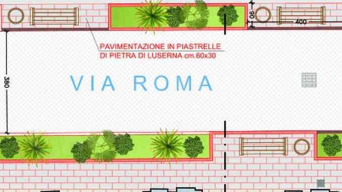 Si andrà a piedi in via Roma piena di fioriere
