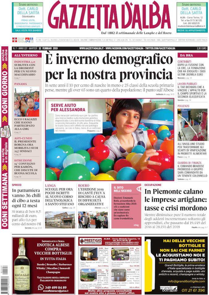 La copertina di Gazzetta d'Alba in edicola martedì 12 febbraio