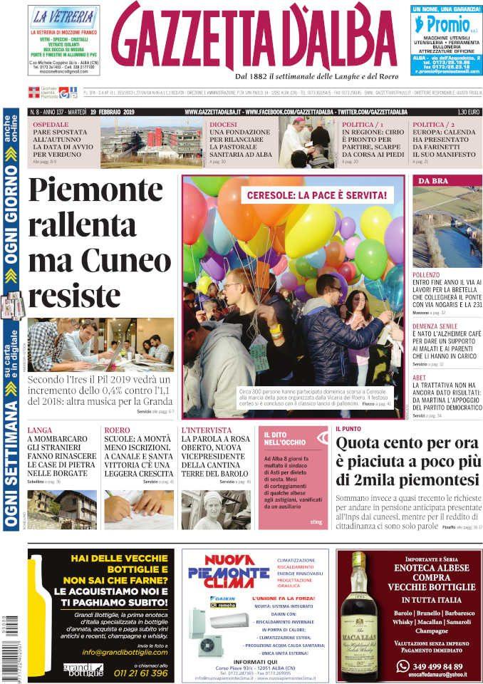 La copertina di Gazzetta d'Alba in edicola martedì 19 febbraio