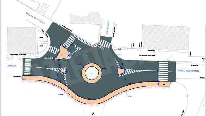 Nuova rotatoria in corso Cortemilia all'incrocio con la strada Sottoripa