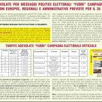Tariffe per la diffusione di messaggi politici elettorali per le elezioni europee, regionali e amministrative del 26 maggio 2019