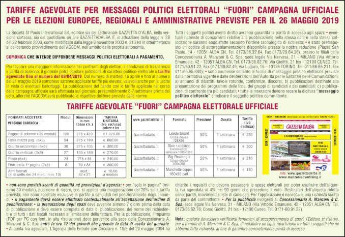 """Tariffe agevolate per messaggi politici elettorali """"fuori"""" campagna ufficiale per le elezioni europee, regionali e amministrative previste per il 26 maggio 2019 1"""