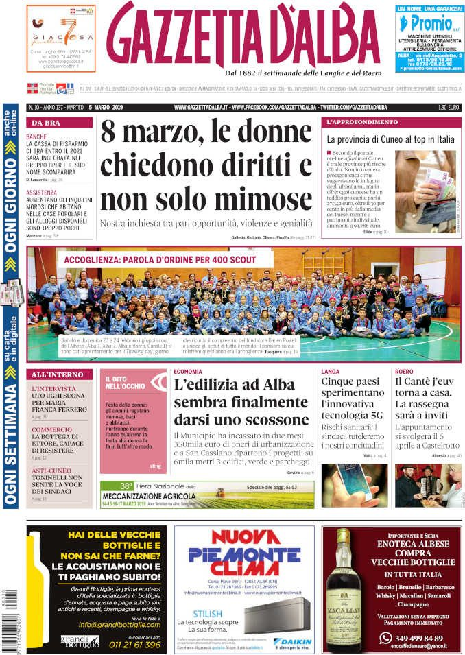 La copertina di Gazzetta d'Alba in edicola martedì 5 marzo
