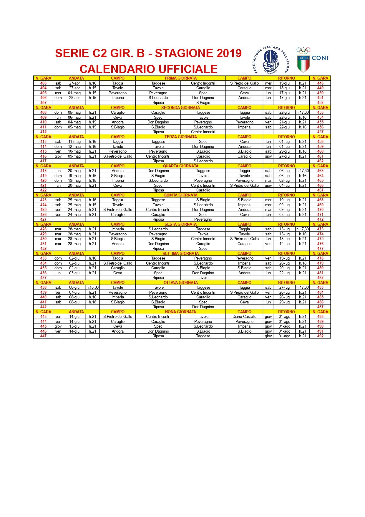 SERIE C2 GIRONE B – Calendario ufficiale_page-0001