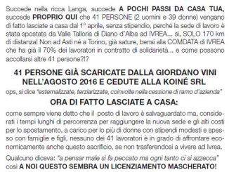 Giordano vini affida la gestione clienti a Comdata, 41 persone trasferite a Ivrea