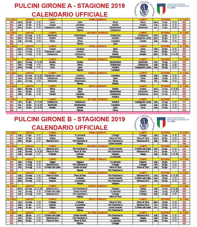 PULCINI GIRONI A-B – Calendario ufficiale
