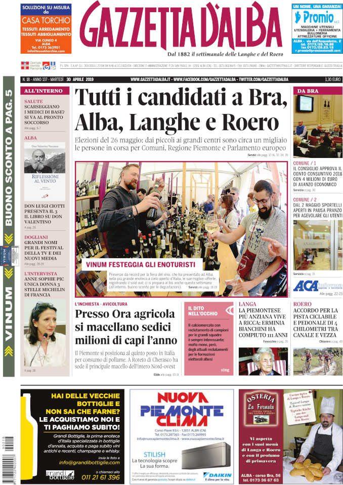 La copertina di Gazzetta d'Alba in edicola martedì 30 aprile