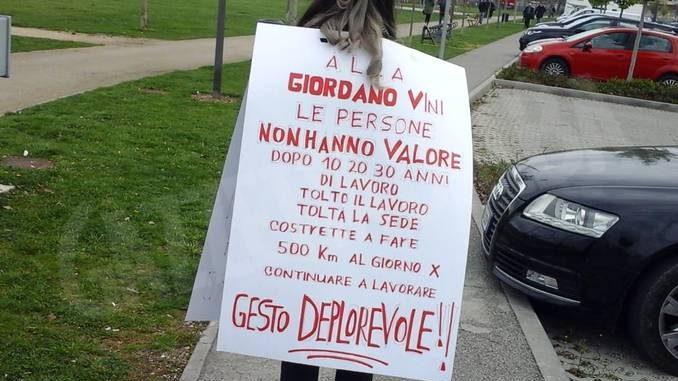La protesta dei lavoratori Giordano è arrivata anche a Vinitaly