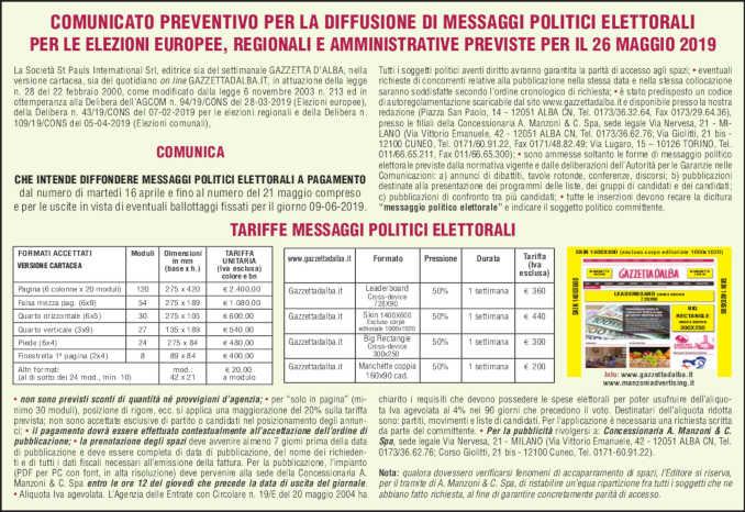 messaggi_elettorali_2019_campagna ufficiale