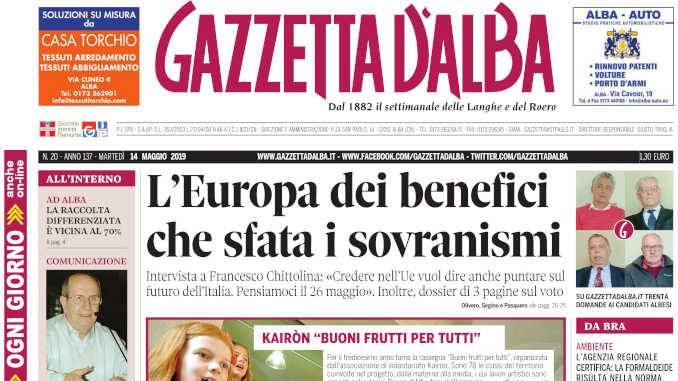 La copertina di Gazzetta d'Alba in edicola martedì 14 maggio
