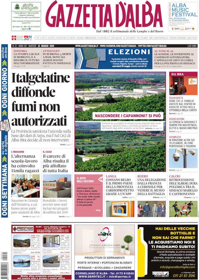 La copertina di Gazzetta d'Alba in edicola martedì 21 maggio