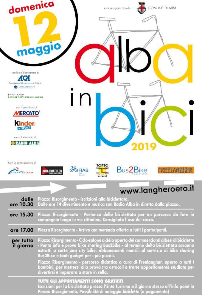 Alba in bici, domenica 12 maggio, dalle 10.30 in piazza Risorgimento