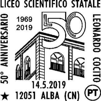 Annullo filatelico in occasione del 50° anniversario del liceo scientifico Leonardo Cocito di Alba