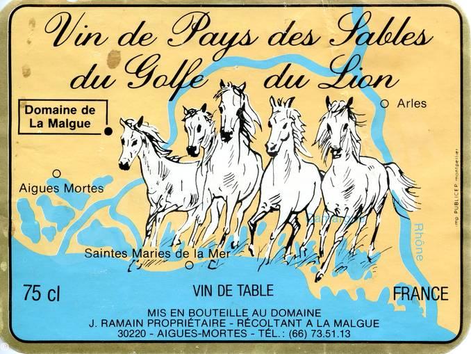 wila Francia, Camargue – Ramain, J. Vin de Pays des Sables du Golfe de Lyon