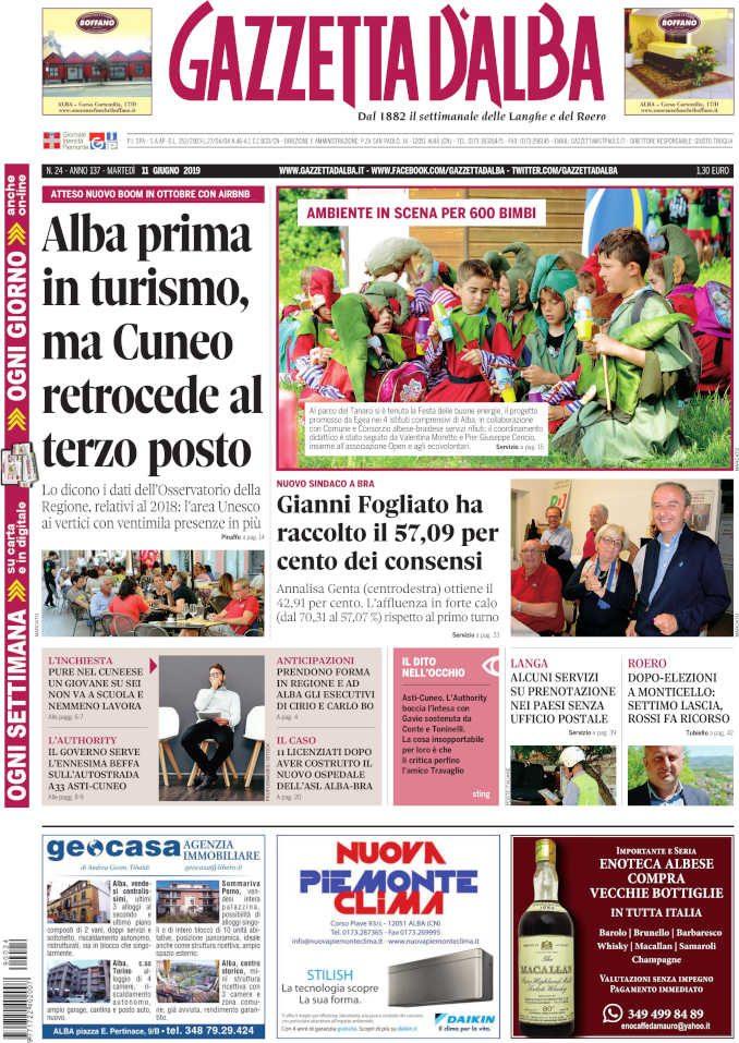 La copertina di Gazzetta d'Alba in edicola martedì 11 giugno