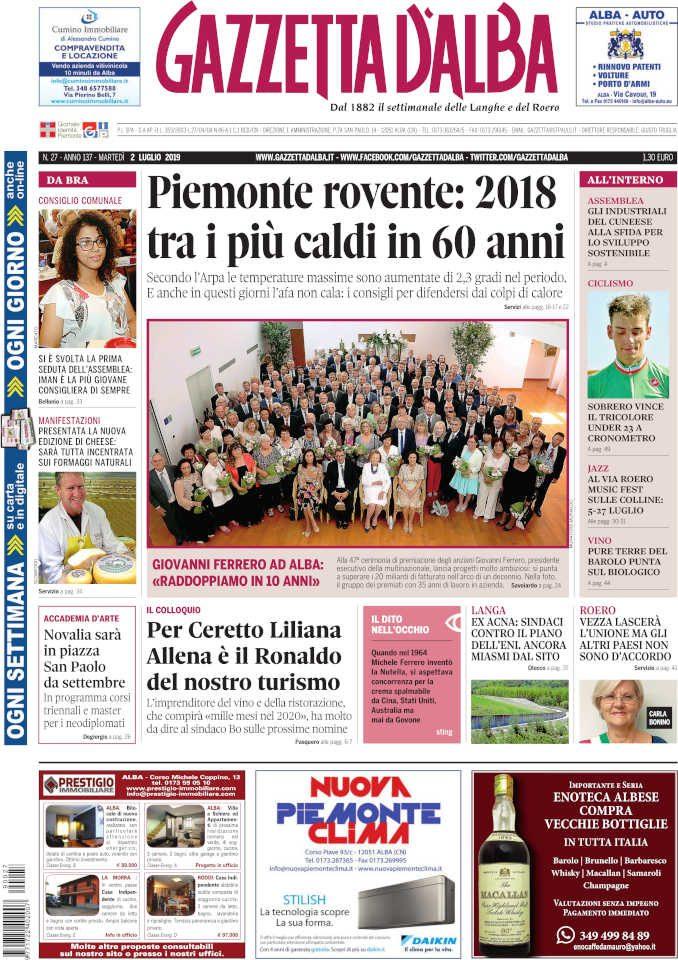 La copertina di Gazzetta d'Alba in edicola martedì 2 luglio