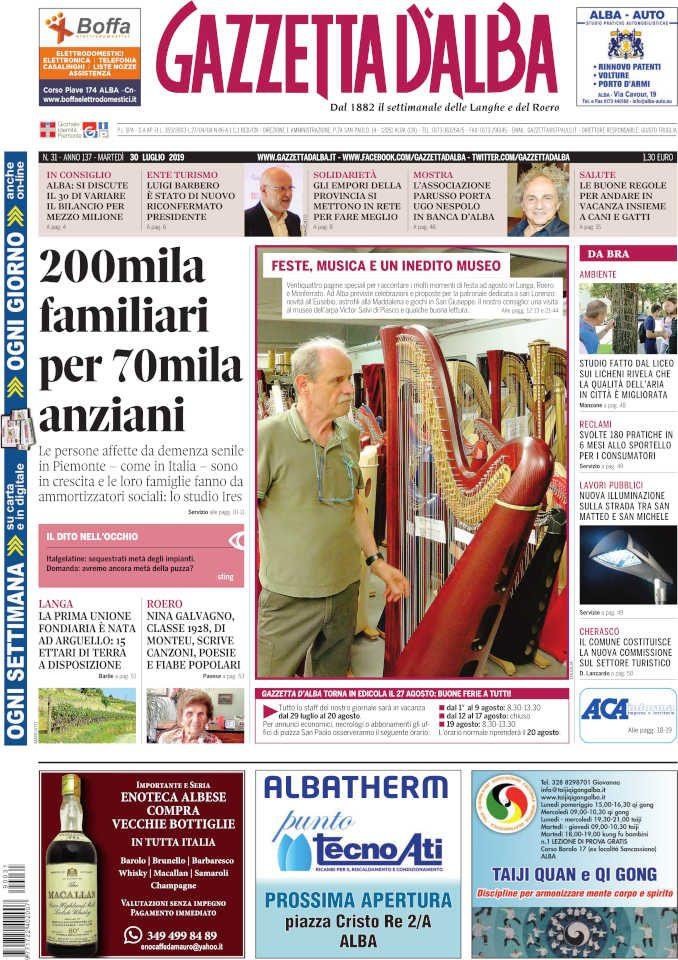La copertina di Gazzetta d'Alba in edicola sabato 27 luglio