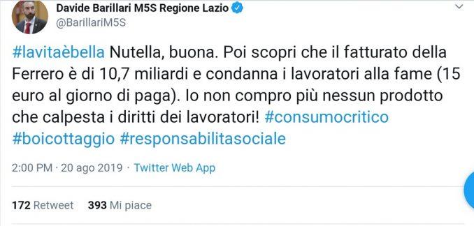 Davide Barillari (M5s) invita a boicottare la Ferrero che sfrutterebbe i lavoratori pagandoli 15 euro al giorno
