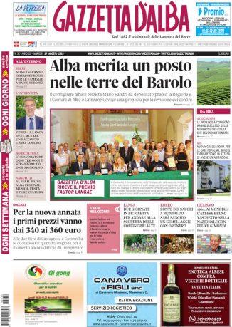 La copertina di Gazzetta d'Alba in edicola martedì 27 agosto