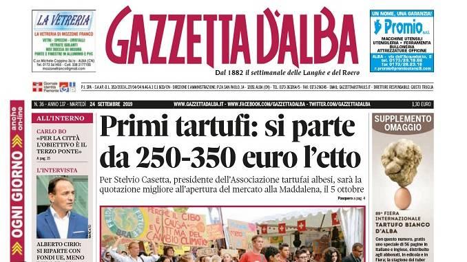 La copertina di Gazzetta d'Alba in edicola martedì 24 settembre 1