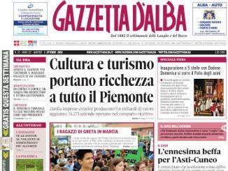 La copertina di Gazzetta d'Alba in edicola martedì 1° ottobre