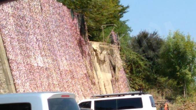 Una perdita d'acqua ha danneggiato il muro con l'Atelier del camouflage