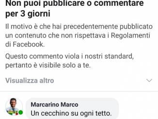 Sospeso per tre giorni il profilo Facebook dell'assessore Marcarino