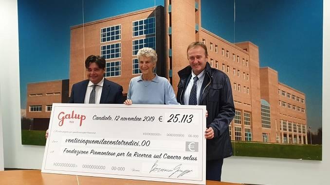 Galup dona 25 mila euro alla Fondazione piemontese per la ricerca sul cancro di Candiolo