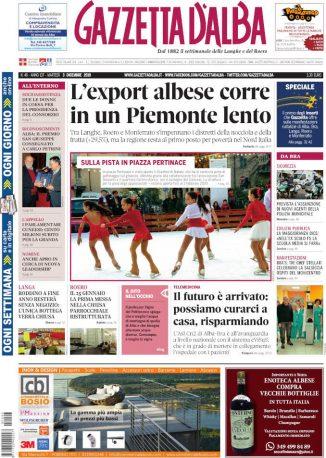 La copertina di Gazzetta d'Alba in edicola martedì 3 dicembre