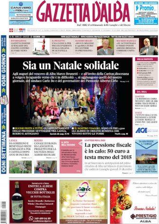 La copertina di Gazzetta d'Alba in edicola martedì 17 dicembre