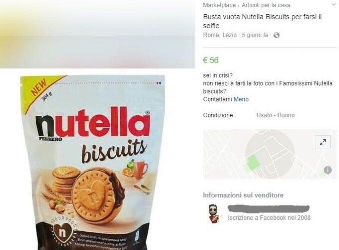 Nutella Biscuits, sacchetto vuoto in vendita a 56 euro 1