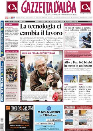 La copertina di Gazzetta d'Alba in edicola martedì 21 gennaio