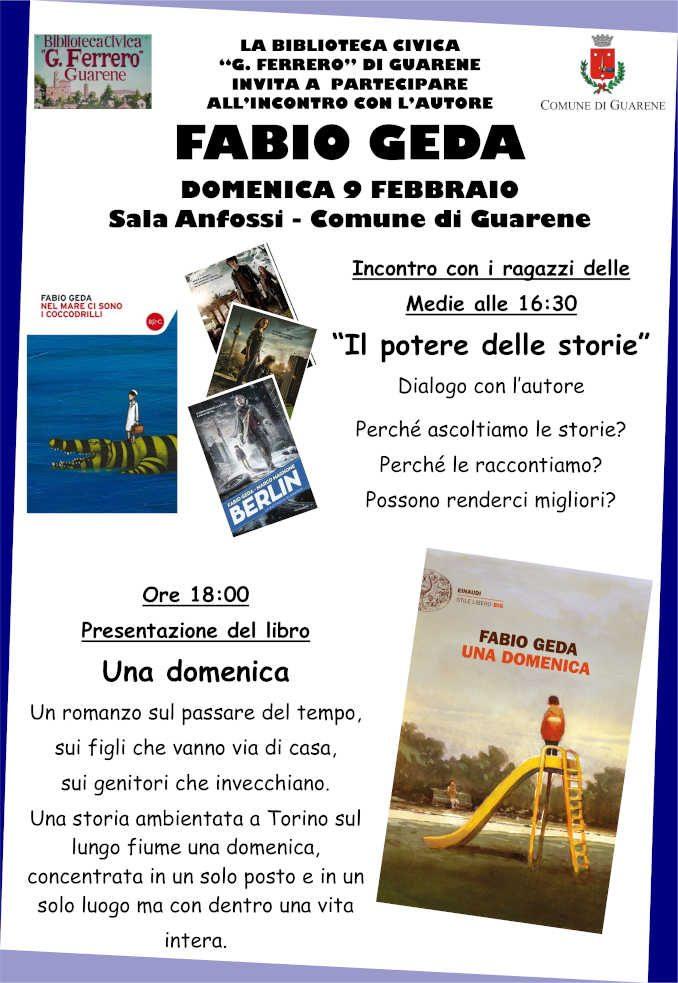 Domani Fabio Geda presenta il suo nuovo libro a Guarene