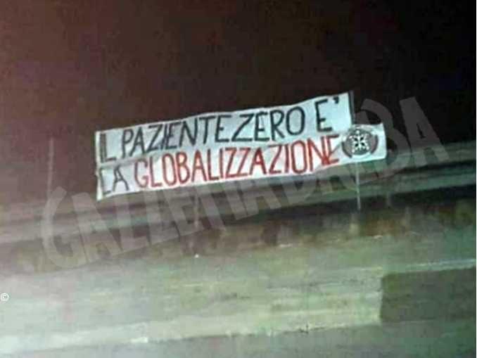 Striscioni di CasaPound in tutta Italia su Coronavirus
