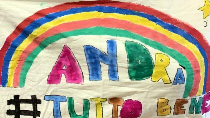 Le nuove immagini dei disegni per l'iniziativa Andrà tutto bene realizzati dai ragazzi dell'Albese 1