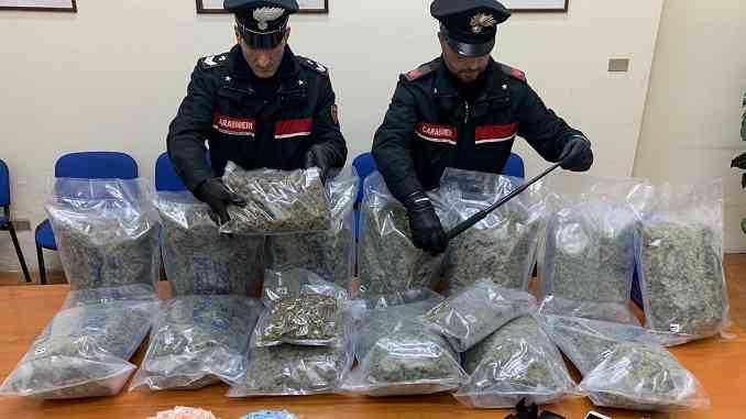 I carabinieri di Torino impegnati nei controlli per Covid19 gli trovano in auto 13 sacchi di infiorescenze di marijuana