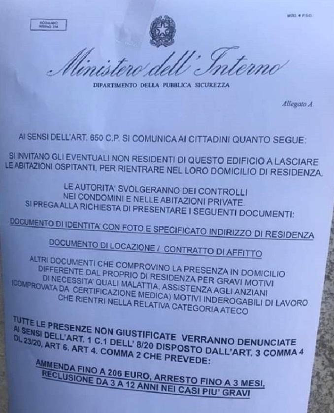 Coronavirus: allarme Polizia, circola falso volantino che invita a lasciare le case per un controllo