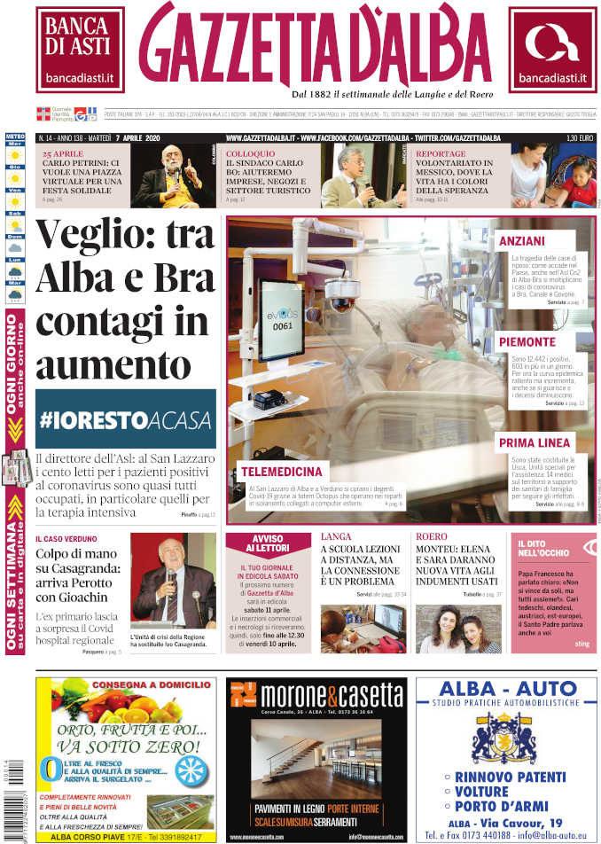 La copertina di Gazzetta d'Alba in edicola martedì 7 aprile