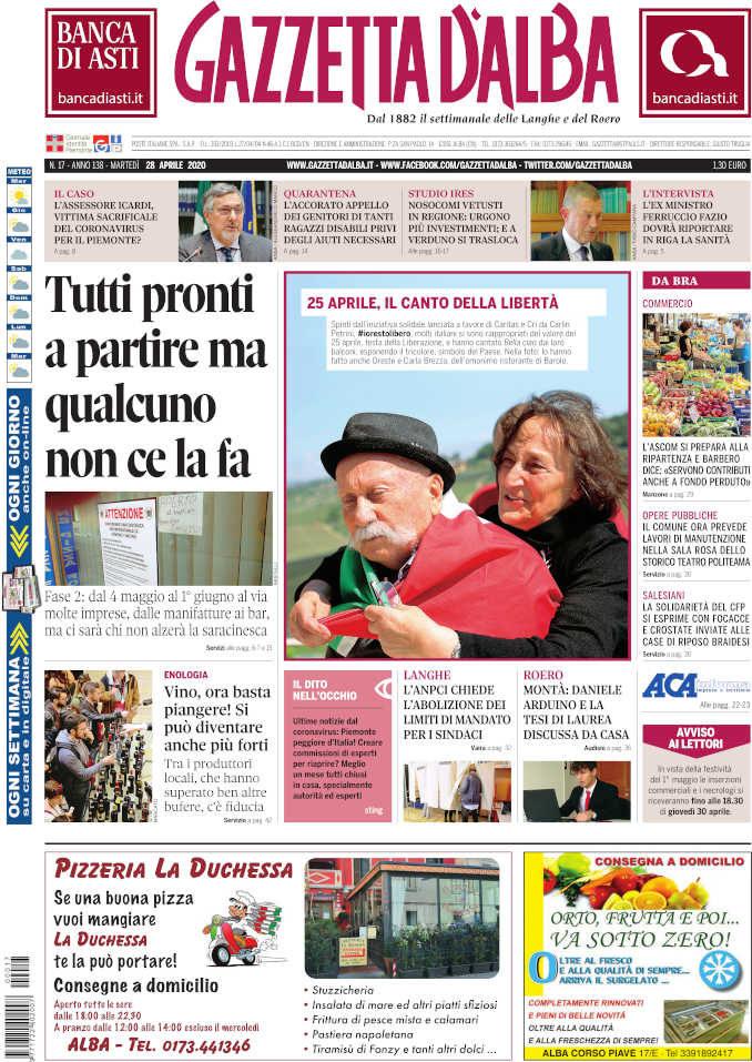 La copertina di Gazzetta d'Alba in edicola martedì 28 aprile