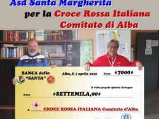 L'Asd Santa Margherita dona 7.000 euro al comitato albese della Croce Rossa