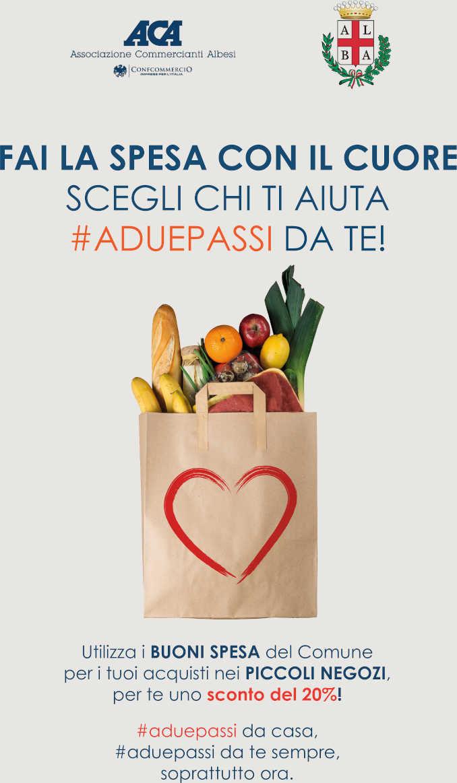 La spesa #aduepassi da te: 20 di sconto a chi usa i buoni spesa del comune di Alba