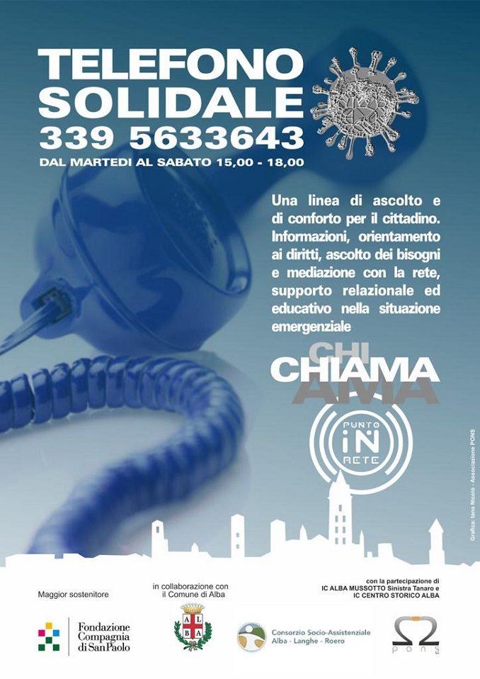 Il comune di Alba attiva il Telefono solidale, una linea di ascolto e di conforto per i cittadini albesi