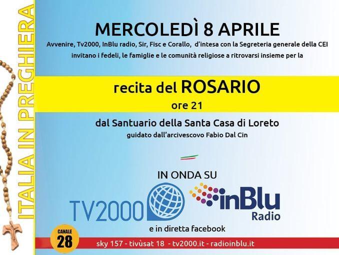 Questa sera la recita del Rosario unirà tutti i fedeli d'Italia 1